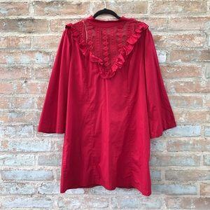 Free People Dress Red Boho Prairie Lora Shift